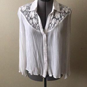 Tops - Lace detail button down blouse